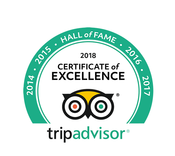 TripAdvisor Certificate of Excellence 2018 – Hall of Fame