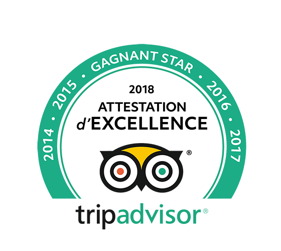 TripAdvisor Attestation d'Excellence 2018 – Gagnant Star